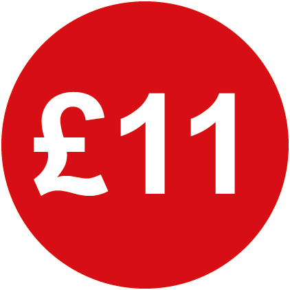 £11 Round Price Labels Red
