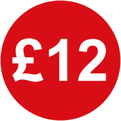 £12 Round Price Labels Red