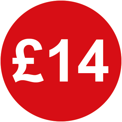 £14 Round Price Labels Red