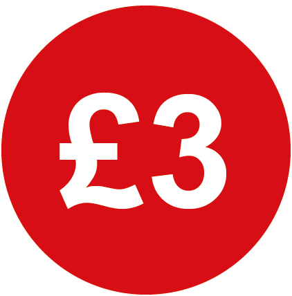 £3 Round Price Labels Red