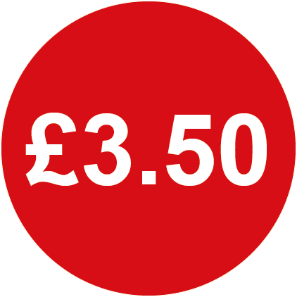 £3.50 Round Price Labels Red