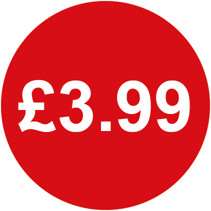 £3.99 Round Price Labels Red