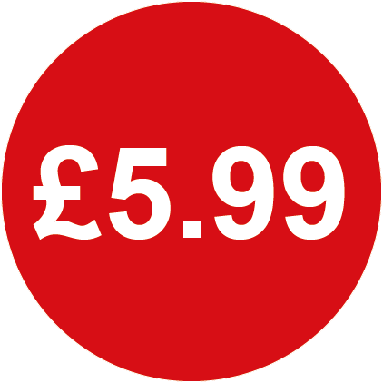 £5.99 Round Price Labels Red