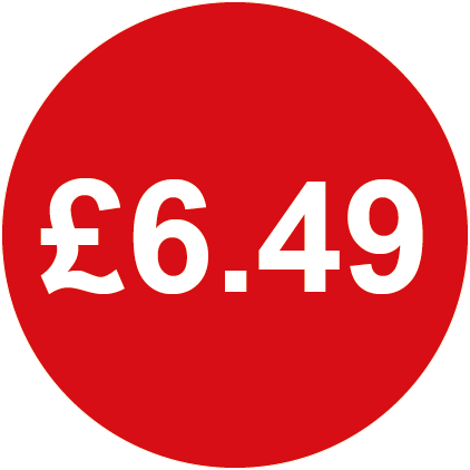 £6.49 Round Price Labels Red
