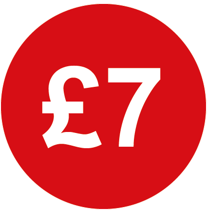 £7 Round Price Labels Red