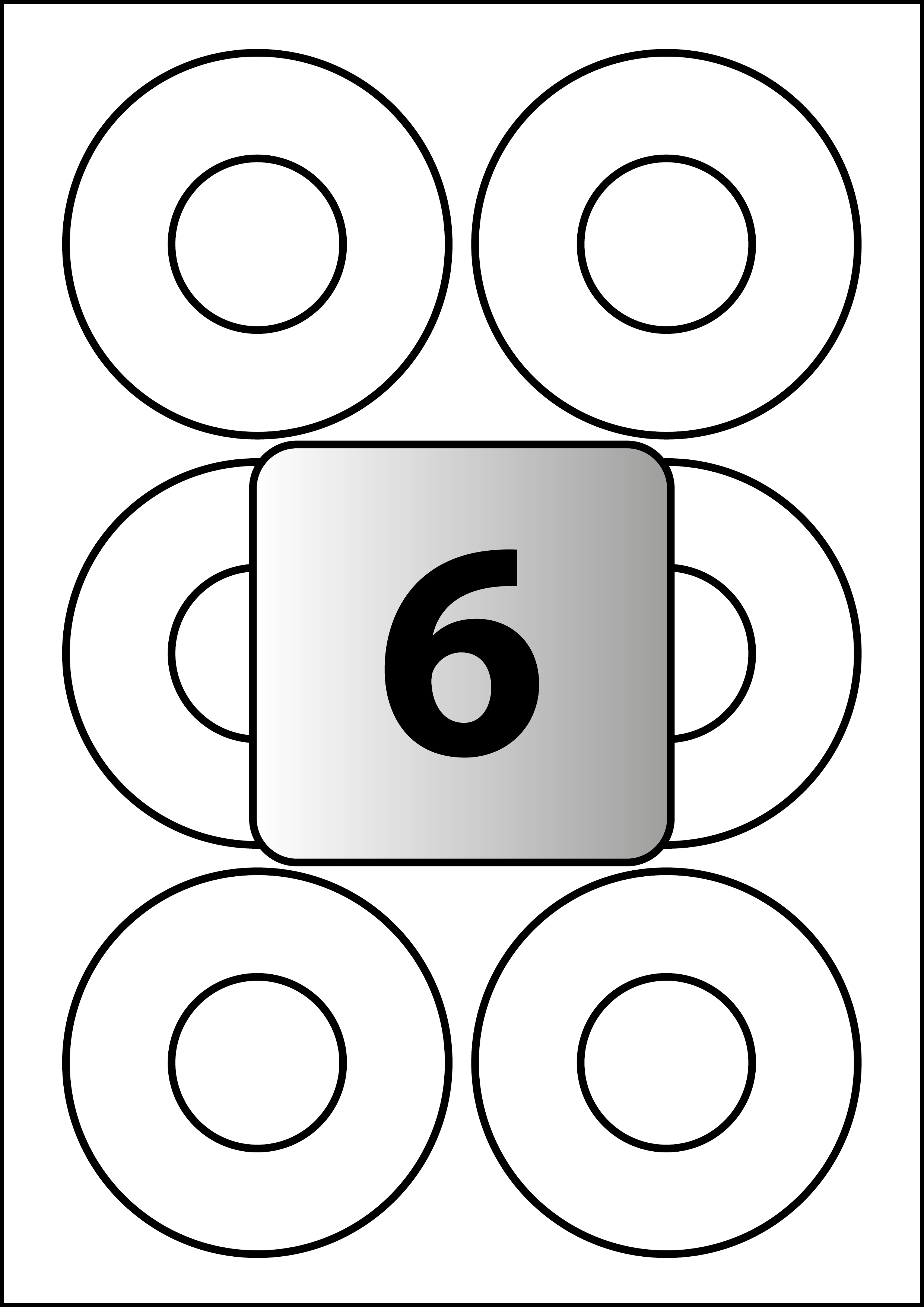 6 Labels per A4 sheet, 87 (39) mm Diameter