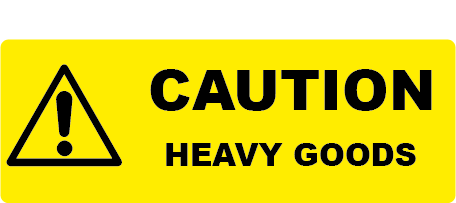 Caution Heavy Goods Rectangle Shipping Labels