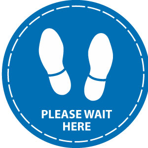 Please wait here (Blue)