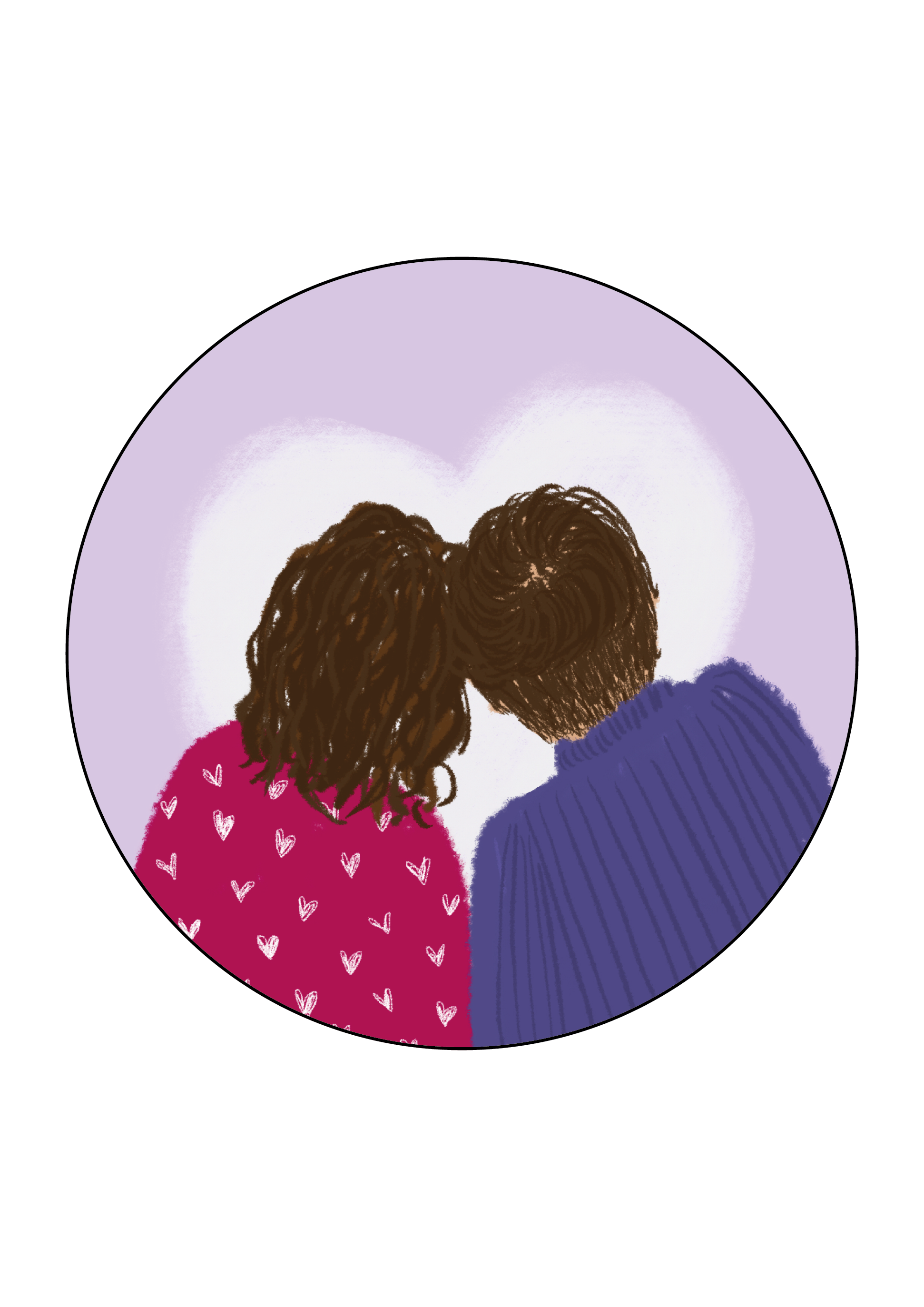 Cute Couple Round Valentines Day Themed Stickers