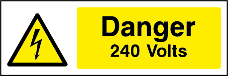 240 Volts Rectangle Electrical Labels