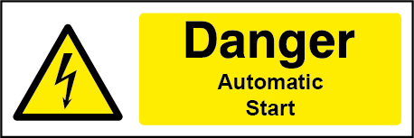 Danger Automatic Start Rectangle Electrical Labels