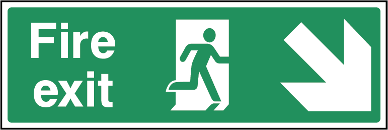 Fire Exit Arrow SE Fire Safety Rectangle Labels