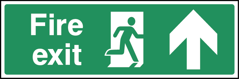 Fire Exit Arrow Fire Safety Up Rectangle Labels