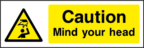 Caution Mind Your Head Hazard Rectangle Labels