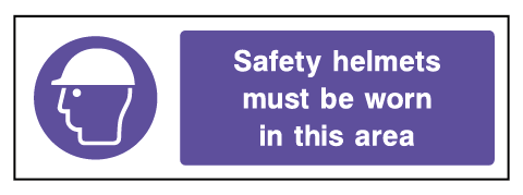 Safety Helmet Warning Mandatory Rectangle Labels