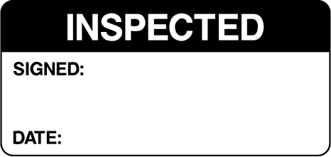 Inspected Signed Date Black Quality Control Inspection Labels
