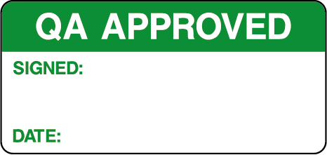 QA Approved Quality Control Inspection Labels