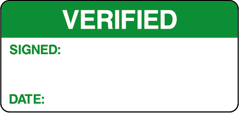 Verified Quality Control Inspection Labels