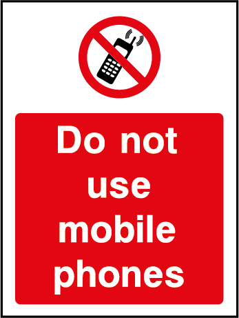 Do Not Use Mobile Phones Prohibition Rectangle Labels