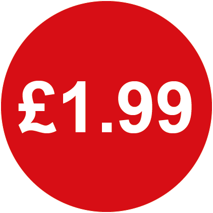 £1.99 Round Price Label Red