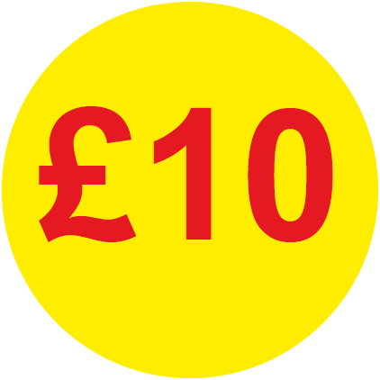 £10 Round Price Labels