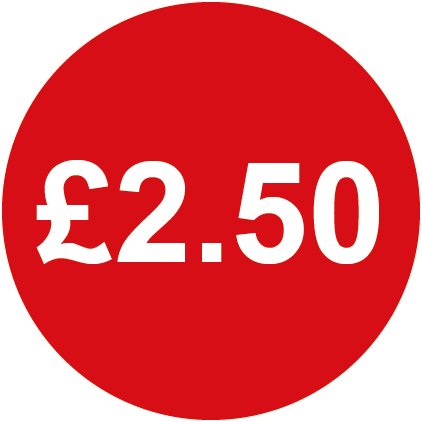 £2.50 Round Price Labels Red