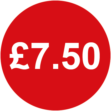 £7.50 Round Price Labels Red