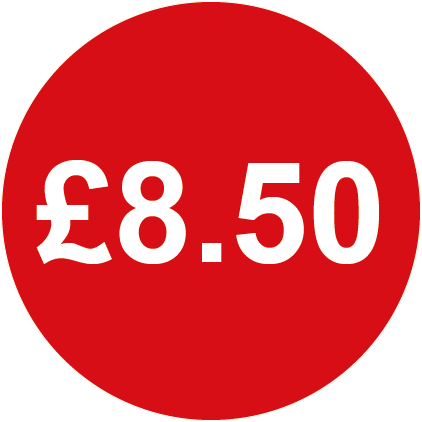 £8.50 Round Price Labels Red