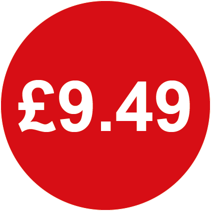£9.49 Round Price Labels Red