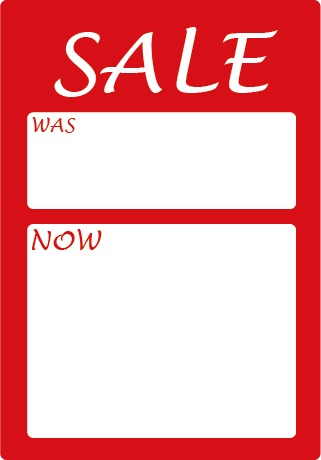 SALE Was Now Portrait Rectangle Labels
