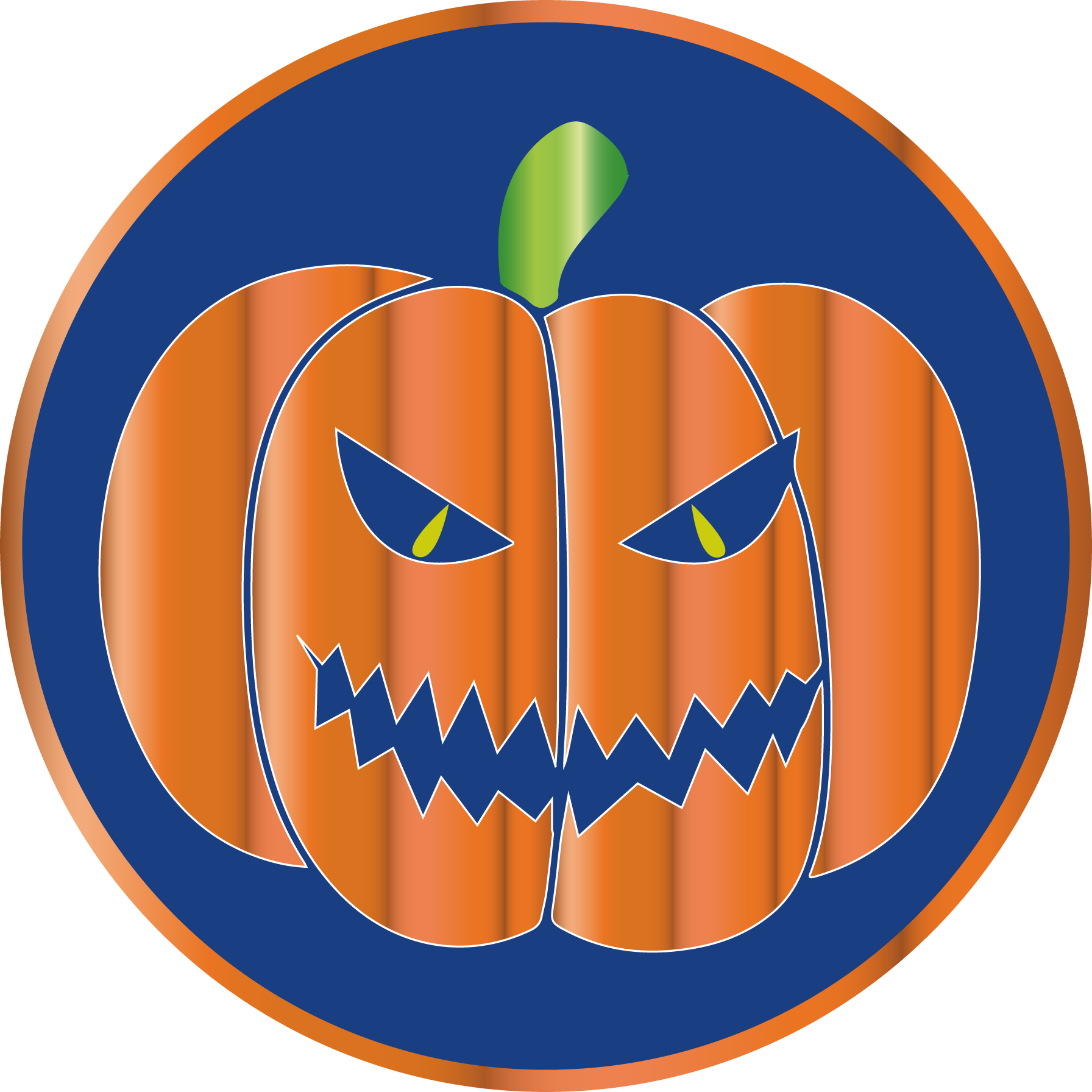 Scary Orange Pumpkin Halloween labels