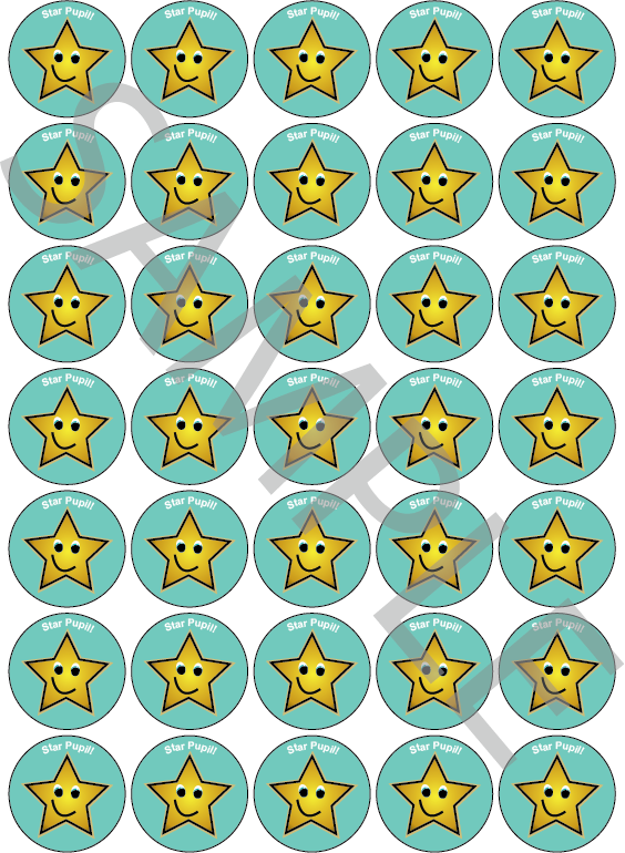 Star Pupil Reward Stickers Blue