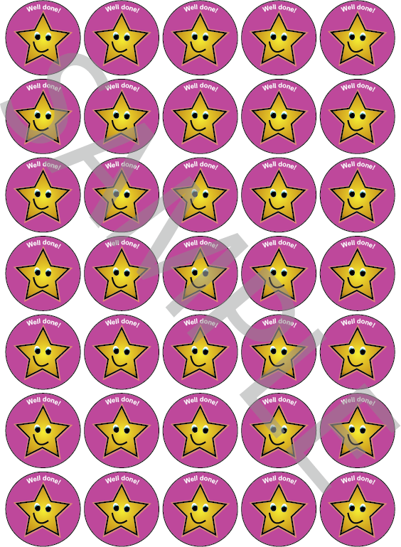 Well Done Reward Stickers Pink