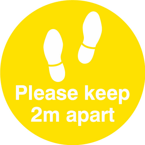 Keep 2m apart - Feet (Yellow)