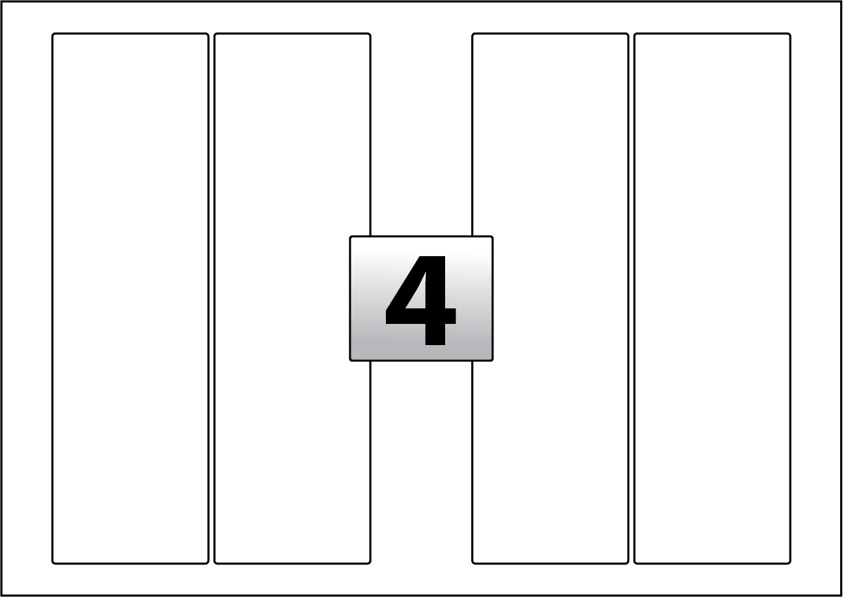 4 rectangle labels per a3 sheet 78 mm x 265 mm