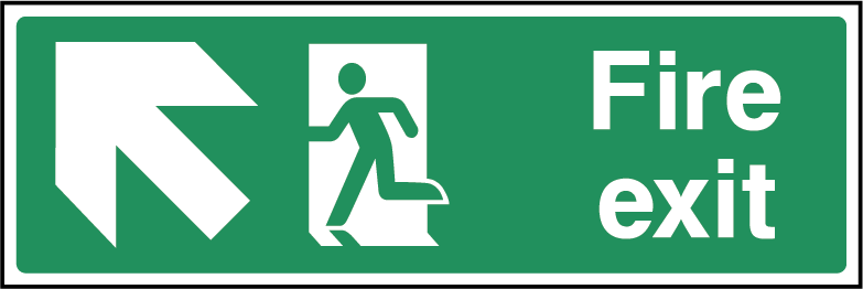 Fire Exit Arrow NW Fire Safety Rectangle Labels