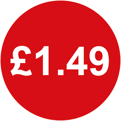 £1.49 Round Price Labels Red