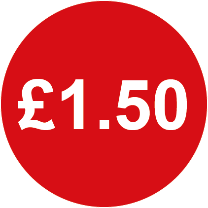 £1.50 Round Price Labels Red