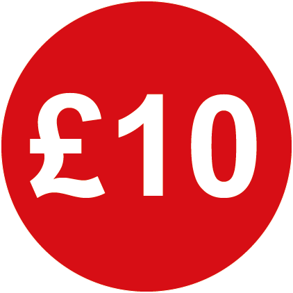 £10 Round Price Labels Red
