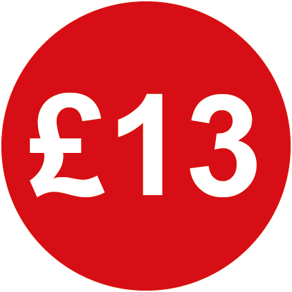 £13 Round Price Labels Red