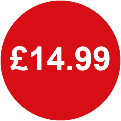 £14.99 Round Price Labels Red
