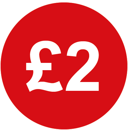£2 Round Price Labels Red