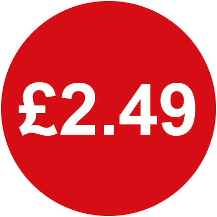 £2.49 Round Price Labels Red