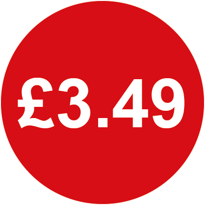 £3.49 Round Price Labels Red
