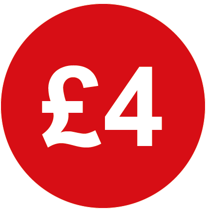 £4 Round Price Labels Red