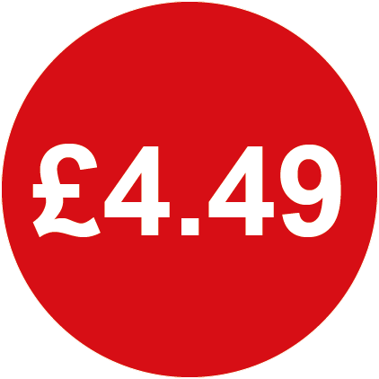 £4.49 Round Price Labels Red