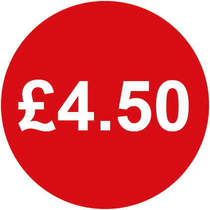 £4.50 Round Price Labels Red