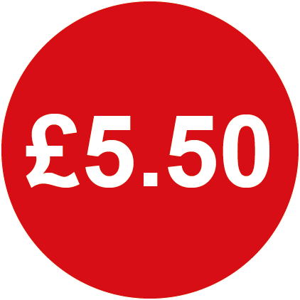 £5.50 Round Price Labels Red