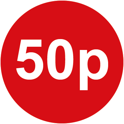 50p Round Price Labels Red