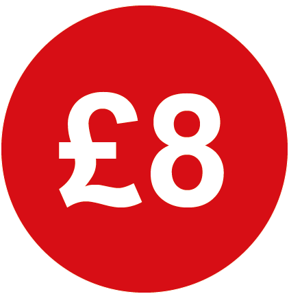£8 Round Price Labels Red
